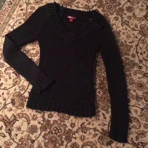 Thick knit v neck sweater.  Never worn